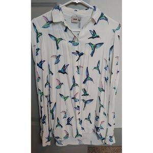Asos bird print shirt size US 0